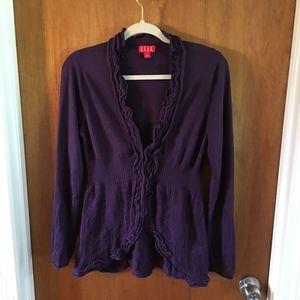 Elle Purple ruffle cutout cardigan Sweater Small